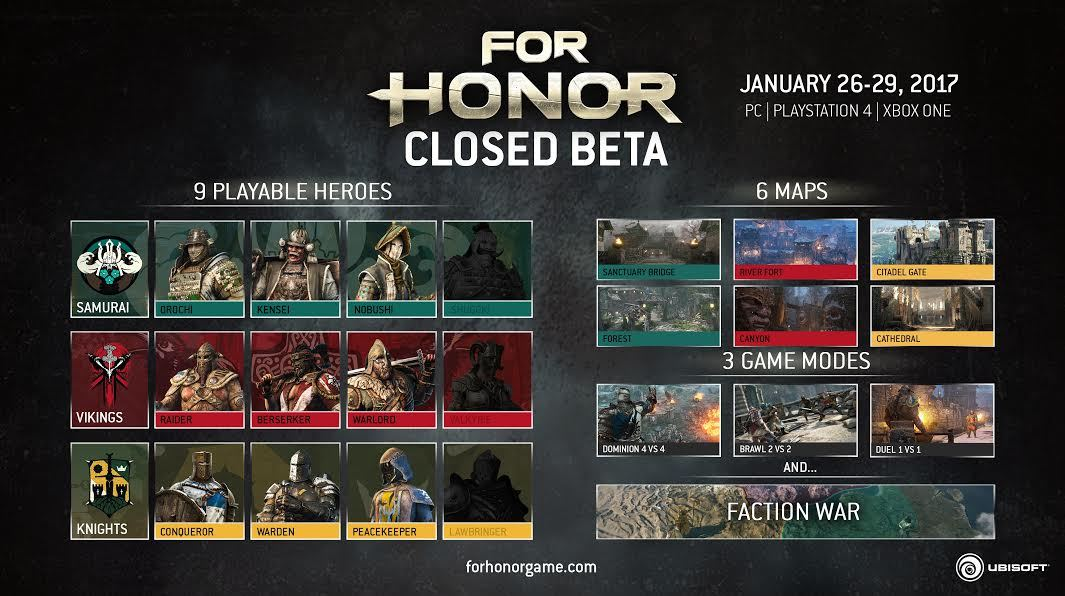 10 FOR HONOR CLOSED BETA-Codes (PS4, Xbox One oder PC) zu